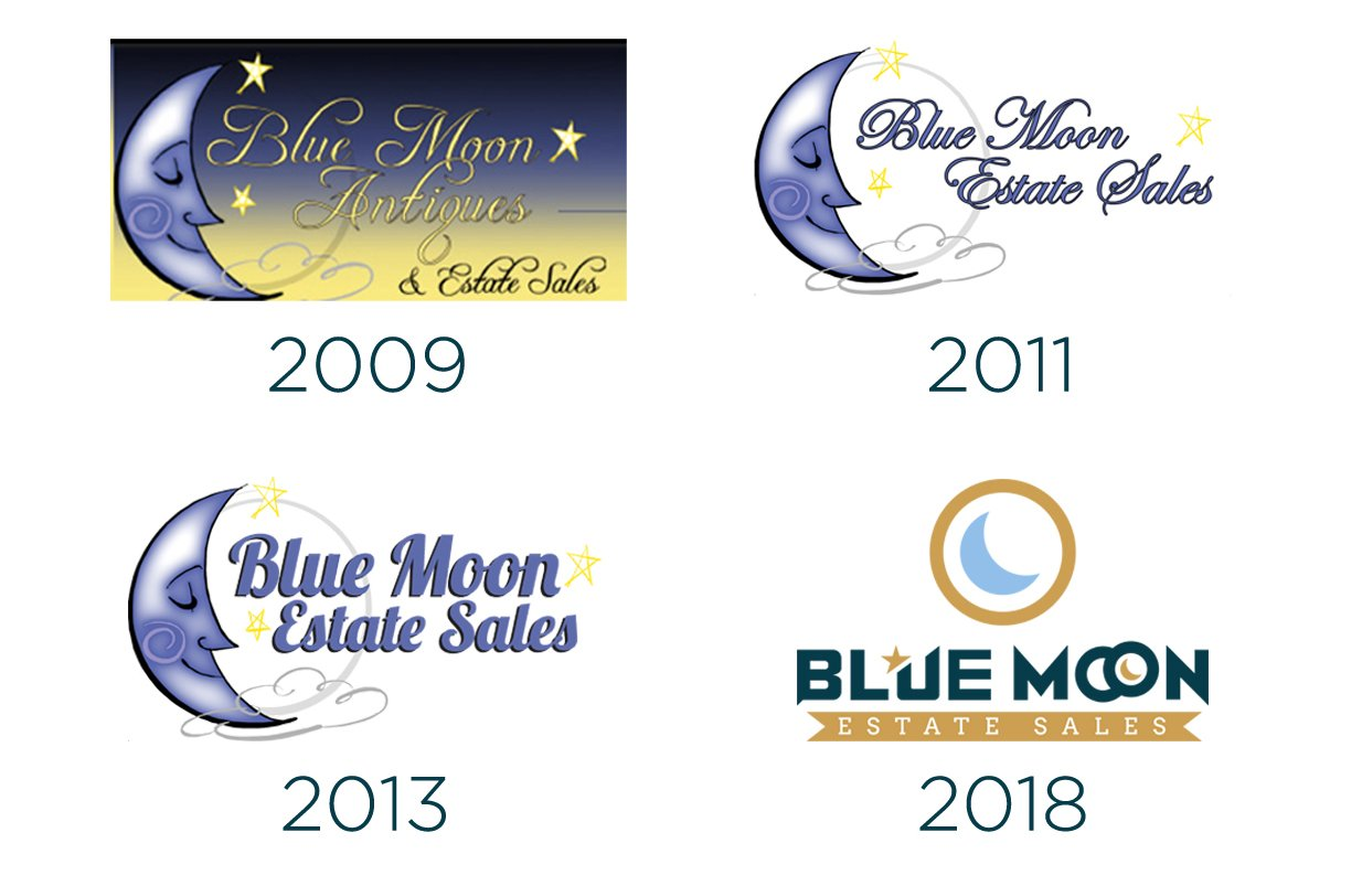 timeline of Blue Moon Estate Sale logos from 2009 to 2018
