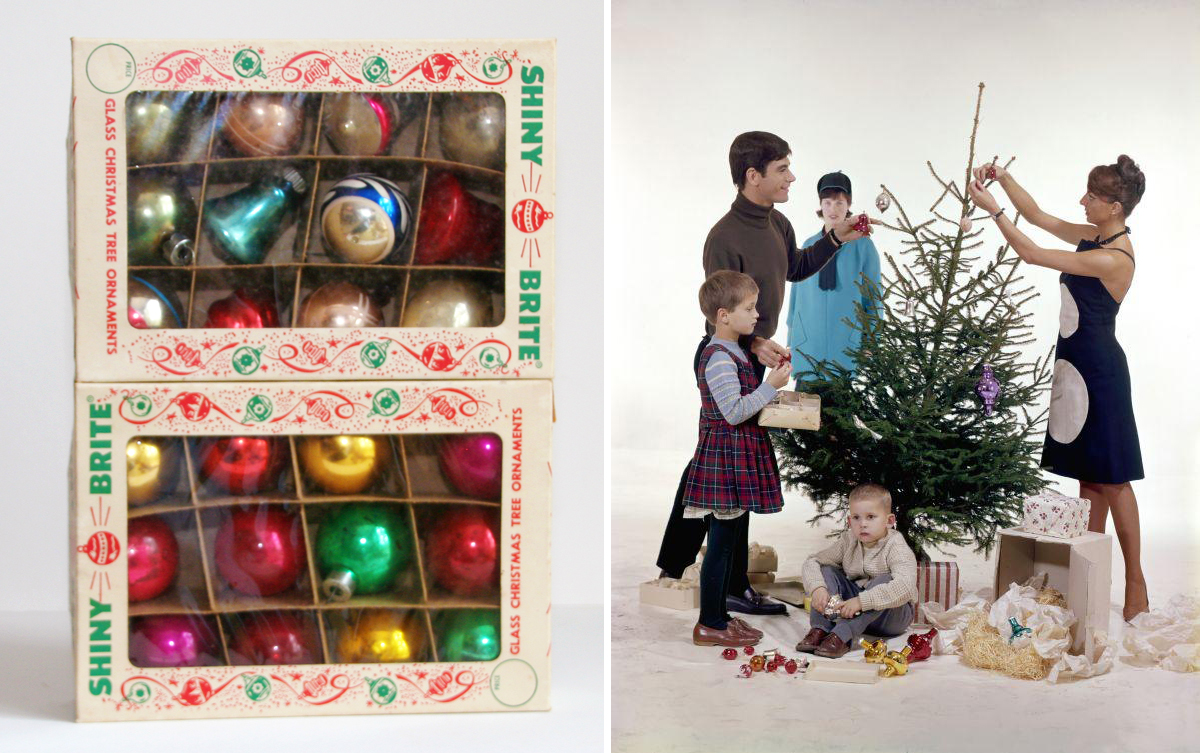 Two boxes of vintage 1950s Shiny Brite ornaments and 1960s family decorating Christmas tree
